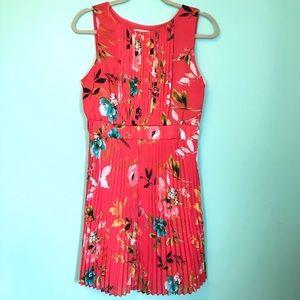 Liz Claiborne Coral Floral Pleated Dress 10 Petite